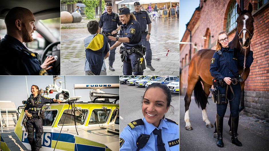 Collage av olika roller inom polisyrket